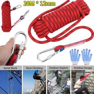 Outdoor-Kletterseil Rock Ice Climbing Equipment Hochfeste Survival Sicherheitsseile Klettern Zubehör Bergsteigen 12mm 20M mit Karabinerhaken