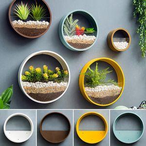 Moderner runder Eisenglaskunst hängender Blumentopf Wandvase Pflanzer Heimtextilien - Blau 30 cm