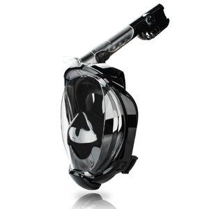 Hengda Schnorchelmaske Vollgesichtsmaske Tauchermaske Vollmaske Faltbare, mit Kamerahaltung, Anti-Fog Anti-Leck, fuer Erwachsene und Kinder Schwarz