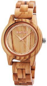 Armbanduhr Holz Raptor Uhr Hellbraun Rund