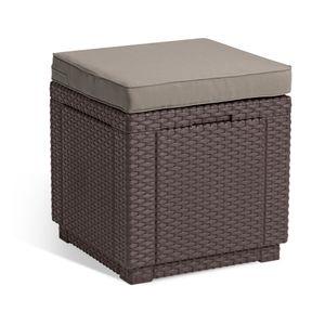 Allibert 206721 Hocker Cube mit Kissen, Rattanoptik, Kunststoff, braun