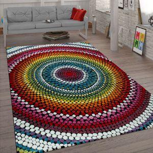 Wohnzimmer Teppich Bunt Kurzflor Retro Muster Abstraktes Design Boho Stil 3-D, Grösse:200x290 cm