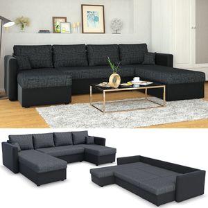XXL Sofa mit Schlaffunktion 290 x 185 cm Schwarz Grau - Wohnlandschaft Couch Ecksofa Schlafsofa Taschenfederkern Eckcouch