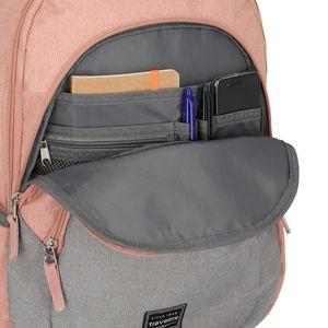Travelite Basics Rucksack mit Laptopfach Schulrucksack Daypack, Farbe:Rosa/Grau