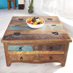 cagü: Exklusiver Design Couchtisch  & Truhe [BORNEO] mit 4 Schubladen aus recyceltem Teak Massivholz 70cm x 70cm Quadratisch
