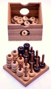 Vier in einer Reihe 3D 4x4 für 2 Spieler - Spielfeld 12 x 12 cm - 3D Bingo 4x4 - Raummühle - Viererreihe 3D - Strategiespiel - Denkspiel aus Holz