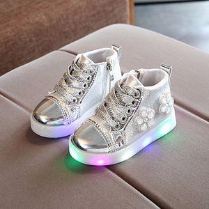 Kinder Baby Mädchen Blumen Kristall Led Light Luminous Running Sport Stiefel Schuhe Größe:22.5,Farbe:Silber