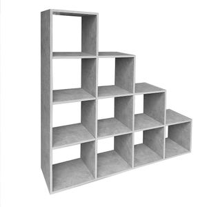 Melko Stufenregal 10 Fächer Raumtrenner Betongrau Bücherwand Treppenregal ??