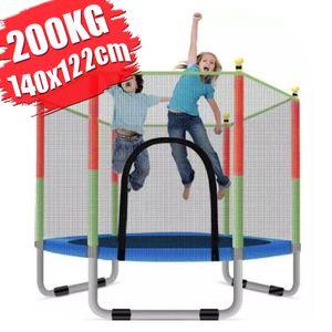 CAMTOA Kinder Rund Trampolin Indoor Outdoor Gartentrampolin Ø140cm mit Sicherheitsnetz