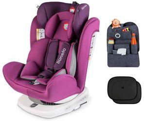 Lionelo Bastiaan violett + ORGANIZER + Sonnenschutz Auto Kindersitz mit Isofix Baby Autositz