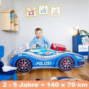 Alcube Kinderbett Autobett PKW Polizei 70x140 cm mit Matratze und Lattenrost Racing Car Spielbett MDF Massiv beschicht Blau