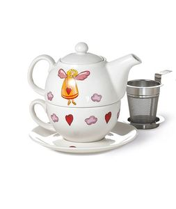 "Tea for one Set ""Schutzengel"" Porzellan, 4 teilig Kanne: 0,3 l, Tasse: 0,17 l"