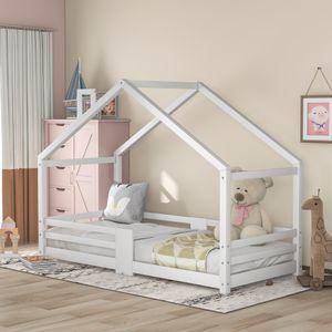 Merax Kinderbett 90x200cm Hausbett Spielbett Kinderhaus mit Rausfallschutz und robuste Lattenroste, Kiefernholz Haus Bett für Kinder- und Jugendzimmer,  Weiß