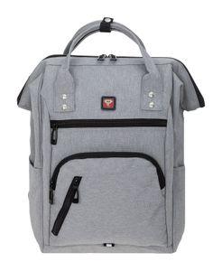 Rucksack Damen Freizeitrucksack mit Klappöffnung Elephant Finn Reiserucksack Tasche Laptopfach 12816 Grau + Schlüßeletui