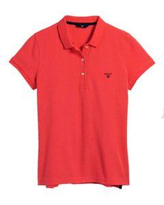 GANT Damen Poloshirt - MD. Summer Pique, Halbarm, Knopfleiste, Logo, einfarbig Rot S
