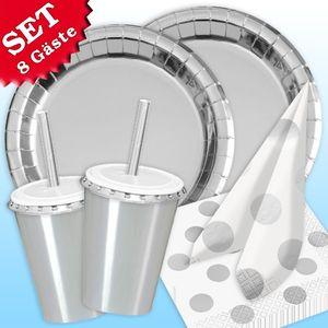 "Basic Set ""Silber Metallic"", 50 tlg, für 8 Gäste"