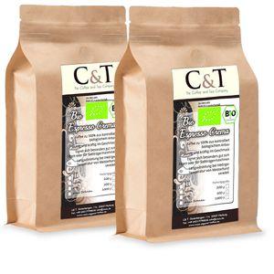 C&TEspresso Crema | Cafe 2 x 1000 g ganze Bohnen Gastro-Sparpack im Kraftpapierbeutel Kaffee für Siebträger, Vollautomaten, Espressokocher