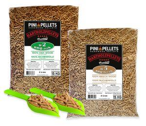 PINI Hartholz Pellets Eiche 15 Kg + Buche 15 Kg für Grill, Smoker, Pizzaofen und Heizungsanlagen