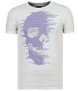 Skull Glitters Rhinestones - T- Shirt Totenkopf Glitzer - Weiß - M