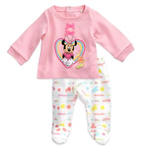 Disney Baby Mädchen Set Shirt Hose Minnie Mouse rosa weiß 62 (0-3 Monate)
