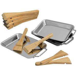 bremermann Grillpfanne 4er Set inkl. 8 Bambus-Schaber, Edelstahl