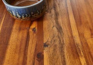Esstisch Baumkante Massiv Akazie cognac 120 x 80 schwarz IDA