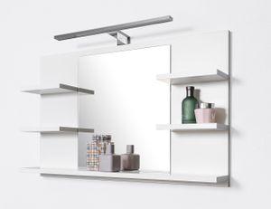 Badspiegel mit Ablagen Weiß mit LED Beleuchtung Badezimmer Spiegel Wandspiegel