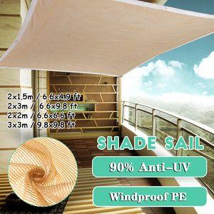 Meco Sonnensegel Rechteckig 2x3m Sonnenschutz Atmungsaktiv UV Schutz für Balkon Terrasse Garten,Beige