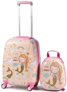 GOPLUS Kinderkoffer mit Rucksack, Kids Trolley, Kindergepäck mit Rollen, Reisekoffer mit Teleskopgriff, Hartschalenkoffer für Kinder, Kinder Trolley Farbwahl (Pink)