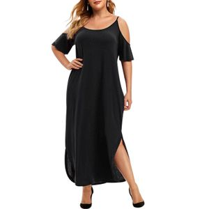 LAPA Damen Plus Size Kurzarm Kleid Off Shoulder Loose Long Kleider, Schwarz, 58