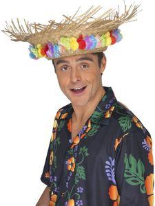 Kostüm Zubehör Strandhut aus Stroh mit Blumen Karneval Fasching