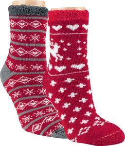 """2 Paar Thermo Socken """"Weihnachtszeit"""" Gr. 39/42 rot/anthrazit"""