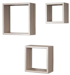 3er Set Cube Wandregal Regal 25cm 20cm 15cm Holz Eiche gekälkt Nachbildung Würfelregal