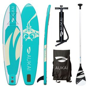 "Aukai® Stand Up Paddle Board 320cm ""Manta"" SUP Surfboard aufblasbar + Paddel Surfbrett Paddling Paddelboard - türkis"