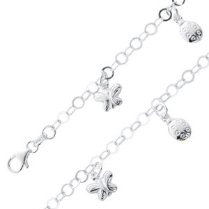 Kinder Armband Silber 925 Bettelarmband Anhänger Schmetterling Marienkäfer 16