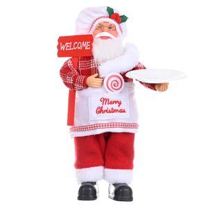 Große Luxus Vater Weihnachten Santa Claus Ornament Dekoration Indoor Tisch Deko Farbe Koch