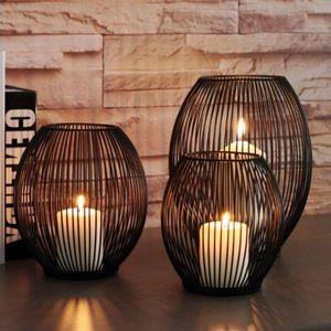 Metall Draht Kerzenleuchter Kerzenhalter, Oval Korb Halter - M
