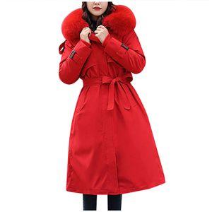 Womens Winterjacke Warmer Mantel Schlanker Pelzkragen Reißverschluss Dicker Mantel Outwear Größe:XXXL,Farbe:Rot