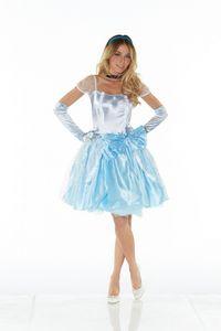 DELUXE Kostüm CINDERELLA KURZ Prinzessin, Größe:M/L