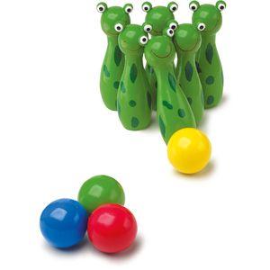 Small Foot 8166 Kegel-Satz Frosch aus Holz, mehrfarbig, 6-teilig (1 Set)