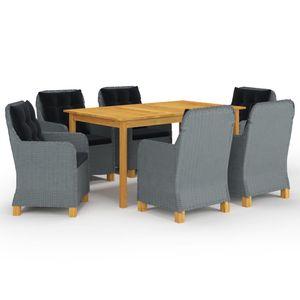 Gartenmöbel Essgruppe 6 Personen ,7-TLG. Terrassenmöbel Balkonset Sitzgruppe: Tisch mit 6 Stühle, Hellgrau❀1856