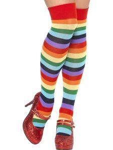 bunte lange Ringel-Strümpfe Clownin Karneval Fasching