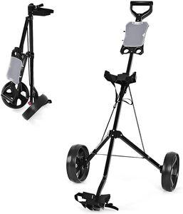 COSTWAY 4-Rad Golftrolley klappbar, Golfwagen mit Anzeigetafel, Schiebewagen Metallragmen, Golf Push Cart, Golfcaddy schwarz