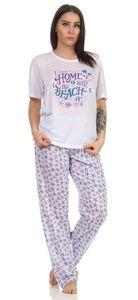 Damen Pyjama Hose Shirt kurzarm, Weiß XL