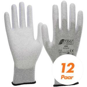 NITRAS ESD-Handschuhe, Schutzhandschuhe 6230 antistatisch, Touchscreen-Handschuhe - VPE 12 Paar Größe:6
