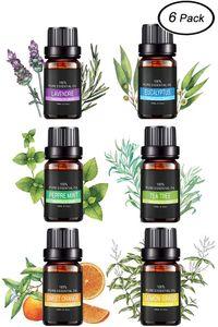 Ätherische Öle Set, 100% Pur Aromatherapie Duftöl für Diffuser und Aromatherapie, 6 x 10ml - Lavendel, Eukalyptus, Teebaum, Pfefferminz, Orange, Zitronengras