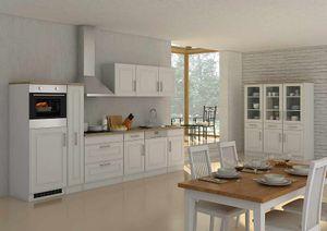Küchenblock Rom 330 cm mit Apothekerschrank im Landhaus Stil weiß matt ohne Elektrogeräte