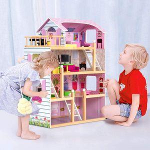 GOPLUS Puppenhaus 3 Etagen Puppenstube Puppenvilla Holzpuppenhaus inkl. Möbel Holz rosa