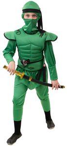 Kinder Kostüm Ninjakind grün Ninja Karneval Fasching Gr. 152