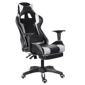 Gaming Stuhl Racing Stuhl Bürostuhl Schreibtischstuhl Chefsessel Drehstuhl mit Kissen 150 kg Weiß
